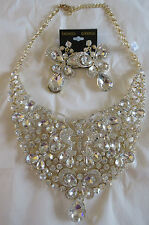 Necklace Large Rhinestone Cluster Gold Butterfly Tear Statement Collector NWT 5