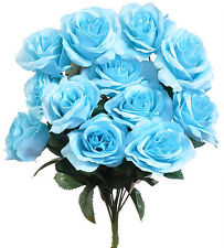Aqua Spa Blue 12 Open LongStem Roses Silk Wedding Flowers Bouquets Centerpieces