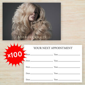 100 x Appointment Cards Hair Salon Beauty Spa *Loyalty Cards available* FREEPOST
