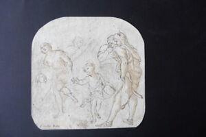 ITALIAN-ROMAN SCHOOL 17thC - HISTORICAL SCENE ATTR. MATTIA PRETI - INK DRAWING