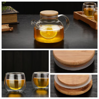 500ml/1L Glass Teapot Tea Pot Coffee Kettle With Bamboo lids Double Glass cups