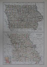 1897 U.S.STATES LARGE MAP IOWA MISSOURI