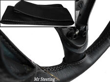 FOR MERCEDES CLK BLACK ITALIAN LEATHER STEERING WHEEL COVER GREY STITCH
