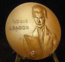 """Médaille 68mm Louis Aragon """" Il n'y a pas d'amour ..."""" d'ap Delaunay medal 铜牌"""