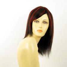 perruque femme 100% cheveux naturel long méchée noir/rouge MARIA 1b410