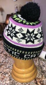 Vintage Arctic Cat Knit Beanie Winter Hat Snowflake Design W Black Pompom