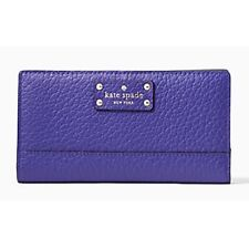 NWT Kate Spade Stacy Bay Street Bifold Leather Wallet color Bajablue ( Purple )