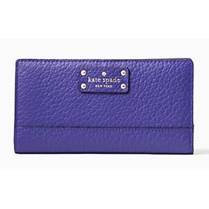 Kate Spade Stacy Bay Street Bifold Leather Wallet Purple (color Bajablue) NWT