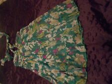 Green Multi Floral Halterneck Dress Size S/M Bead & Sequin Detail TSEGA