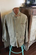 ORVIS Men's Hunting Blazer SZ M/L Drill Cloth Khaki Leather Trim Elbow Patches