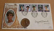 PRINCESS OF WALES 1998 BENHAM FDC + 5 MARKA BOSNIA COIN SIGNED ELIZABETH EMANUEL