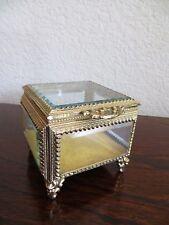 Old Vintage  Beveled Glass  Gold Ormolu Casket Trinket Jewelry Box Filigree trim