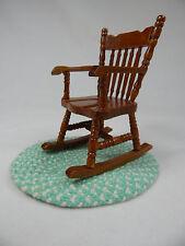 Dollhouse Miniature 1:12 Scale Small Grandma's Rocker Rocking Chair/ Rug #Z213G