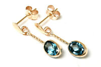 9ct Gold London Blue Topaz Oval drop Earrings Gift Boxed Made in UK