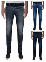 Crosshatch Men's New Fashion Jeans Straight Fit Vintage Faded Blue Denim Wayne