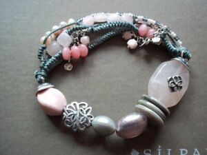 Silpada Reef Soapstone Quartz Pearl Shell Sterling Silver Bracelet B2181