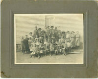 Antique Matted Photo -Group of School Children Outside Standing in Dirt - Hats