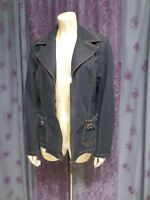 Bisou Bisou Michele Bohbot Dark Denim Jean Jacket Size L Double Zipper