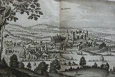 Merian Topographia Gallia gravure ancienne 17ème Blamont Franche-Comté Doubs