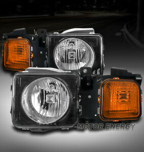 FOR 06-10 HUMMER H3/09+ H3T REPLACEMENT HEADLIGHT HEADLAMP BLACK LEFT+RIGHT PAIR