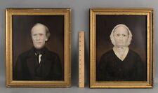 Pr 19thC Antique JEROME D FIELDING New York Folk Art Portrait Oil Paintings NR
