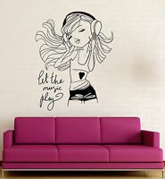Teen Girl Music Headphones Room Decoration Wall Stickers Vinyl Decal (ig3121)