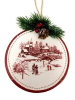 Currier and Ives Red Toile Christmas Tree Ornament Holiday Wreath Decoration Vtg