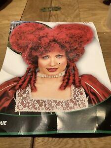 Ladies Red Baroque Wig Queen of Hearts Fairy Tale Saloon Burlesque Fancy Dress
