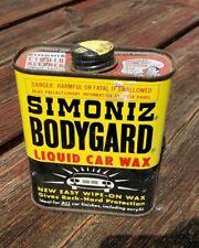 50's VINTAGE SIMONIZ BODYGUARD LIQUID CAR WAX CAN AUTOMOTIVE ADVERTISEMENT TIN
