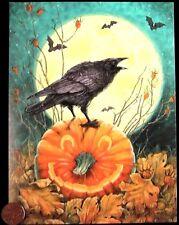 Beautiful Crow Pumpkin Jack o Lantern Moon Bats - Halloween Greeting Card - NEW