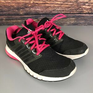 ADIDAS CloudFoam Women's Black Pink Lace Up Running Gym Trainers Shoes Size UK 6