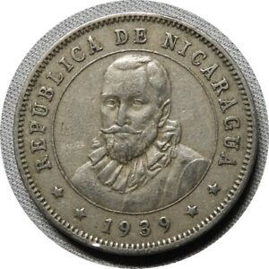 elf Nicaragua 25 Centavos 1939 Mountains Sunrise World War II