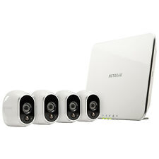 Netgear Arlo Security System 4 Wireless HD Cameras Indoor/Outdoor Night Vision
