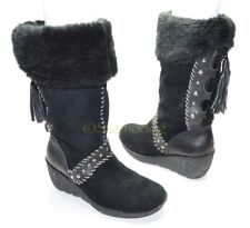Womens GUESS Muk Luk Winter Boots Wedge Faux Fur Lined Leather Size 7 NEARLY NEW
