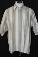 Burberry London Mens Short Sleeve Beige Brown Striped Shirt Made in USA Sz L