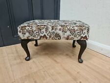 UPHOLSTERED SWANGLEN FURNITURE FOOTSTOOL WITH QUEEN ANNE LEGS