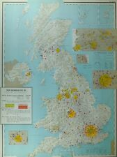 VINTAGE LARGE MAP of BRITAIN NEW HOUSES 1945-58 POPULATION MANCHESTER SHEFFIELD