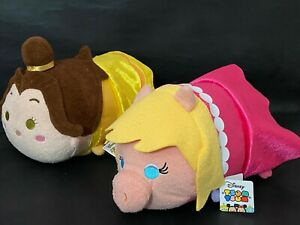 """LARGE DISNEY TSUM TSUM SOFT TOYS - BELLE OR MISS PIGGY - 12"""" X 7"""" NEW -LICENCED"""
