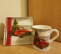 NEW MAGENTA CHRISTMAS TREE WREATH RED TRUCK PUPPY HOLIDAY MUG & PLATE Home Decor