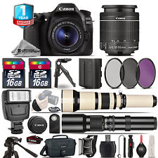Canon EOS 80D DSLR Camera + 18-55mm IS + 650-1300mm +500mm + EXT BAT + 1yr Wrnty