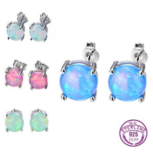 925 Silver Round Cut Pink&White Multi-Color Fire Opal Prom Ear Studs Earrings !!