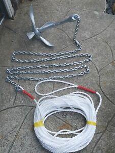 4KG grapnel  boat anchor Kit 2m 8mm chain 100ft 10mm rope rib sailing 4 kg