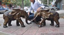 "30""old Chinese bronze Filigree Gilt Feng shui wealth Elephant bat statue pair"