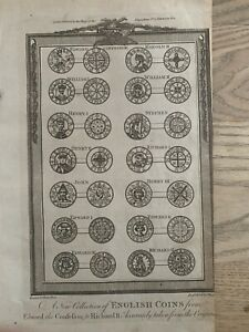 1785 Coins Of England Edward The Confessor To Richard II Historical Engraving