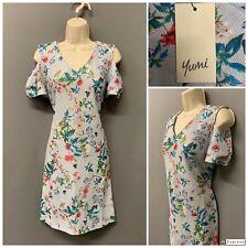 New Yumi Pale Blue Floral Cold Shoulder Dress UK 8 EUR 36