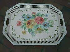 """Vintage Pink hand painted roses toleware tray/platter 20.5 X 16"""" U.S.A. Chic!"""