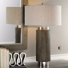 """NEW 33"""" DRIFTWOOD FINISH RESIN TABLE LAMP LINEN SHADE MODERN BRUSHED NICKEL"""
