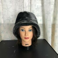 Vintage Women's Fedora Style Hat Gray Silver Faux Fur