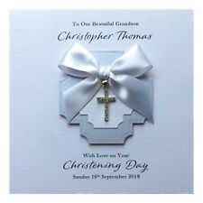 Personalised Christening Card Diamanté Cross Charm Handmade - Boy