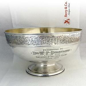 Dr W P Spratling Centerpiece Bowl Engraved Border Gorham Sterling Silver